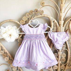 Other - NWOT darling pastel Gingham Eyelet Trim Dress